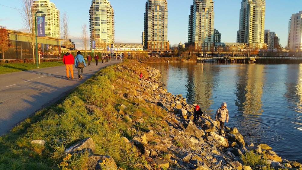 Several of the kids walking back from Science World recently (see shoreline).