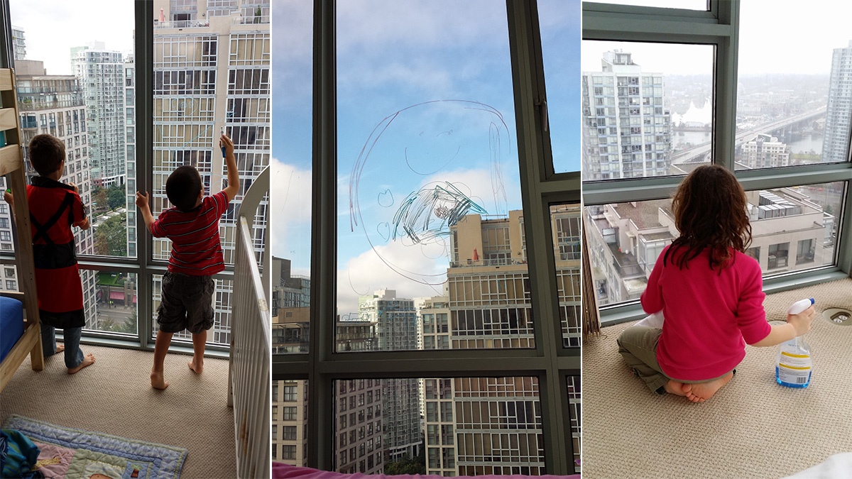 The kids' circle of fun: colour on the windows, then clean them off.