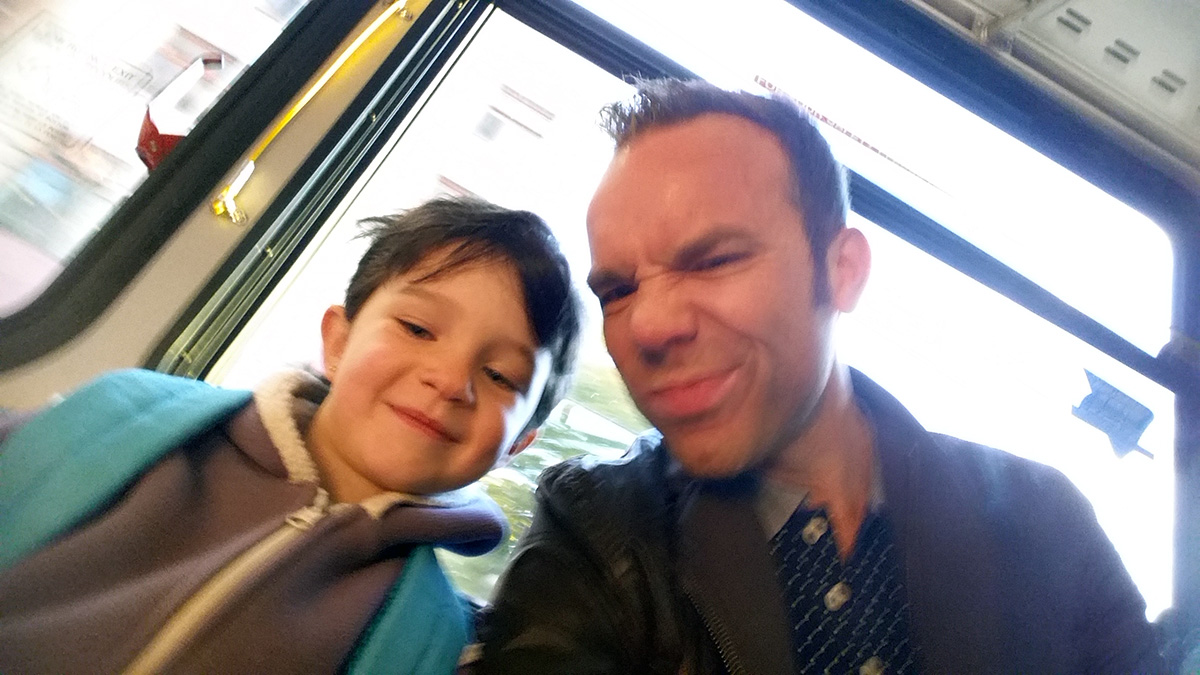 Harlow and I, chilling together on the bus.