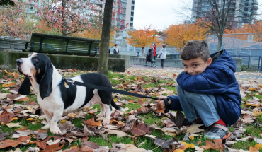 A boy and his hound: Oliver with Friday, the Basset, the dog we found from Part Time Pooch.