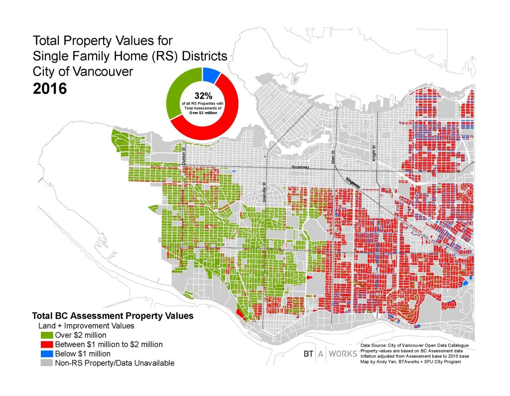 Andy Yan's recent graphic showing the dividing line between $1M and $2M homes in Vancouver.