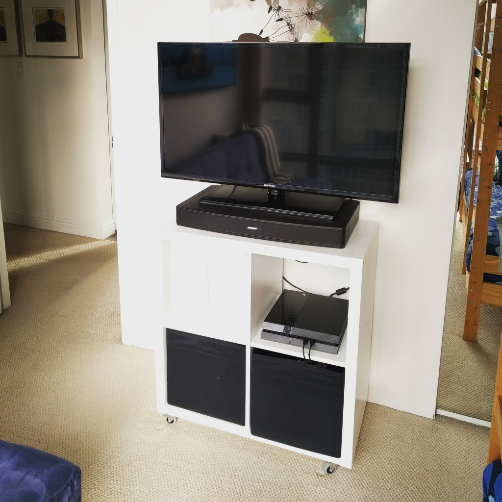 This cart is topped by a pretty sizeable TV and a great sounding Bose sound base. Games and movies are amazing on it.