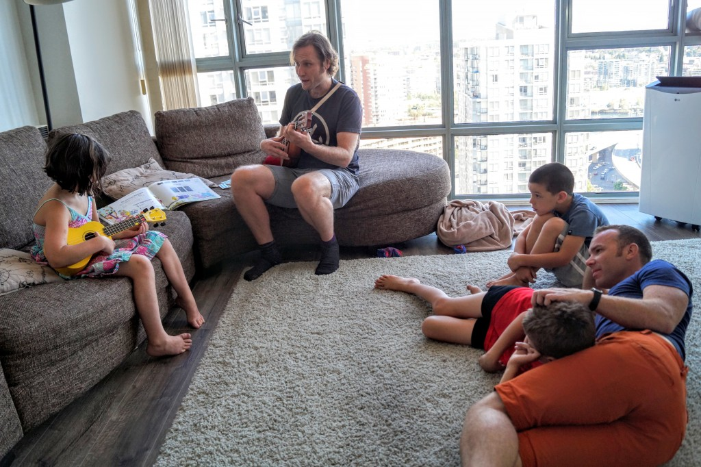 Adrian's family takes in-house ukulele lessons to give some kids a chance to learn an instrument without disrupting the schedules of the others.