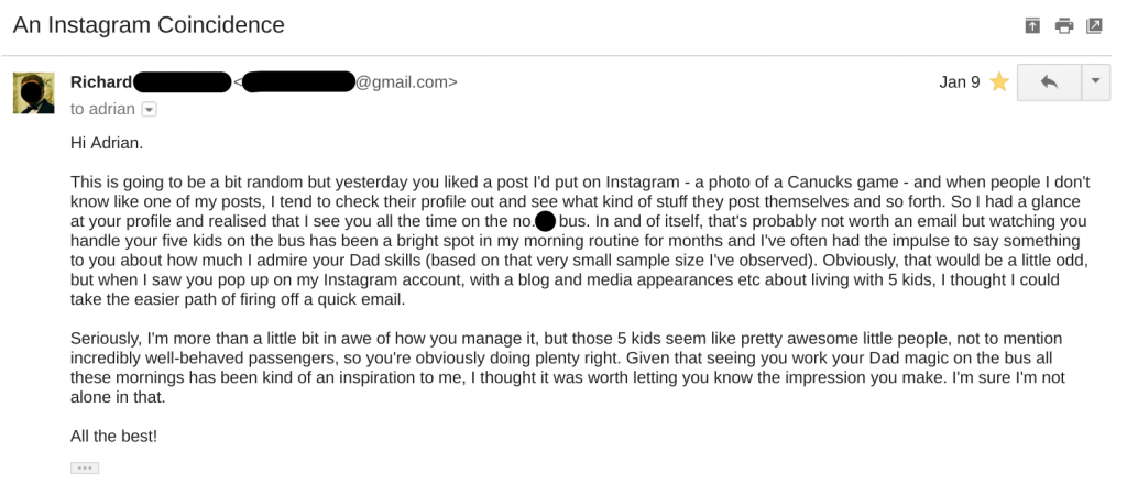 An email from a random fellow bus passenger, complimenting the kids on their transit behaviour.